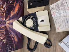 New Vintage white phone 1980s, Wall phone, Old rotary telephone, Circle dial rotary phone, Vintage landline phone, Old Dial Desk Phone