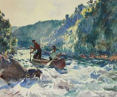 """ Down the Rapids "", c.1897. American Impressionist painter - Frank Weston Benson, (1862-1951). ~ {cwl} ~ (Christie's auction)"
