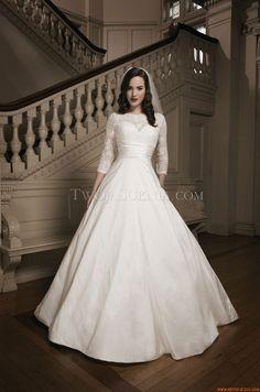 Klassische 3/4 Ärmel Princess-stil Hochzeitskleider aus Satin mit Spitze