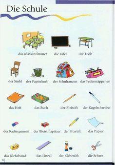 die Schule Study German, German English, Learn German, Learn French, Learn English, German Grammar, German Words, Grammar And Vocabulary, English Vocabulary
