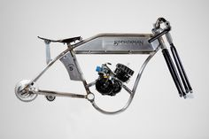 The beautiful frame of a Sportsman Flyer motorized bicycle, a throwback to the glory days of boardtrack racing.