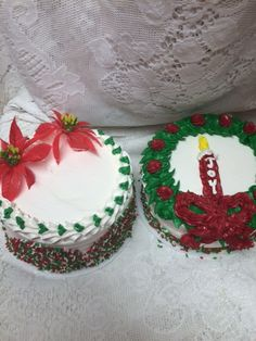 Poinsettias and Wreath with Candle Store Cakes - Mueller's Bakery