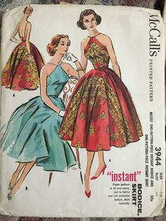 Year 1956 Mc Calls stunning in border print bias bodice/skirt sld 37.5+2.52 7bds 8/16/15