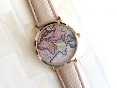 Beige World Map Unisex Leather Watch Faux Leather by tresureswatch, $29.90