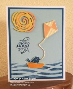 Stampin' Up! Swirly Bird Stamp Set, Swirly Scribbles Thinlits Dies, Dapper Denim and Peekaboo Peach 2016-2018 In Colors.