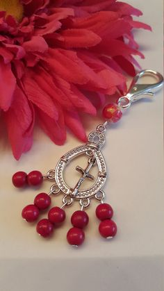 New Item! Rosary Keychain in Red ! Clip Rosary, Travel Rosary, OOAK, Handmade, Prayer beads, Catholic gifts, Baptism Gift, Rosary ring by AutumnsBlessing on Etsy https://www.etsy.com/listing/275877042/new-item-rosary-keychain-in-red-clip