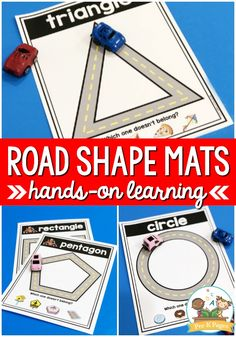 Road Shape Mats for Preschool Highway Mats for Shapes Your kids will love these printable road shape mats! This is a super fun, hands-on shape learning activity using toys car to trace shapes. Preschool Learning Activities, Preschool At Home, Preschool Curriculum, Toddler Learning, Preschool Activities, Preschool Shape Activities, Kids Printable Activities, Kindergarten Classroom, Educational Activities