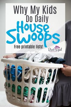 Daily House Swoops -- it's a fun way to help kids learn responsibility about tidying up a home! House swoops only take minutes but make a huge impact on the cleanliness of your home! Enjoy the free printable House Swoop lists that are age group focused. Lists are from Toddlers to Teens! Every parent needs to find out about House Swoops and implement them today! #ParentingAging