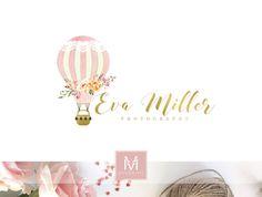 Balloon Logo,Floral Logo ,Romantic Logo, Watercolor Logo, Peonies Logo, Photography Logo, Boutique Logo ,Shabby Chic Logo, Watermark