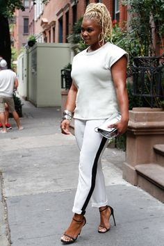 New York Style Diary: Front Row's Bar Sweatshirt, 5th and Mercer Striped Pants, and Stuart Weitzman Nudist Sandals