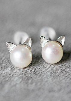 Cat Pearl Earrings, Sterling Silver