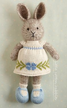 Ravelry: Spring flower dress pattern by Julie Williams knitting little cotton rabbits Spring flower dress Knitting Dolls Free Patterns, Knitted Dolls Free, Teddy Bear Knitting Pattern, Knitted Bunnies, Knitted Stuffed Animals, Knitted Animals, Little Cotton Rabbits, Stuffed Animal Patterns, Julie Williams