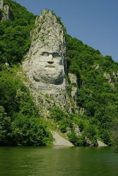 Lord of the Rings anyone? The Statue of Dacian king Decebalus, Danube River, Romania