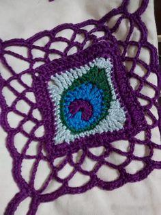 Ecobag tecido com aplicação crochet