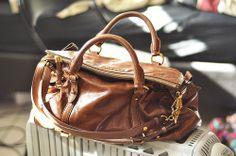 cognac x leather satchel :: Bow Satchel by Miu Miu
