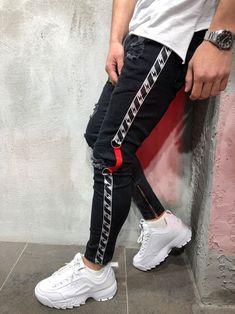 Mens Cool Designer Brand Black Jeans Skinny Ankle Zipper Stretch Slim Fit Hop Hop Pants With Side Stripe Jean 1, Colored Skinny Jeans, Vetement Fashion, Mode Jeans, Ripped Jeans, Ankle Jeans, Best Jeans, Black Skinnies, Swagg