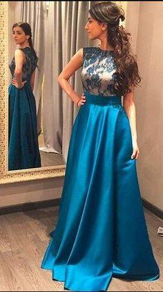 elegant formal evening dress, 2017 prom dress, blue long prom dress, long prom dress