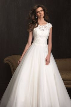 2016 Chic A-line Ivory Round Neck Tulle Wedding Dresses With .- 2016 Chic A-line Ivory Round Neck Tulle Wedding Dresses with Cap Sleeves Persun - Wedding Dress Sleeves, Modest Wedding Dresses, Tulle Wedding, Bridal Dresses, Wedding Gowns, Bridesmaid Dresses, Ivory Wedding, Lace Dresses, Prom Dresses