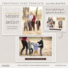 Digital Photoshop Christmas Card Template for photographers PSD Flat card Modern Elegant on Etsy, $7.50