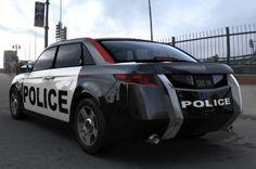 This car is a concept vehicle designed by Carbon Motors http://www.carbonmotors.com/