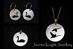 Sterling silver whooper swan pendant, earrings and charm. Handmade. Pierced. Argentium silver.