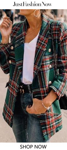 Plaid Double Breasted Casual Business Blazer Coat without Necklace - Green - Outfit of the day Plaid Fashion, Look Fashion, Autumn Fashion, Fashion Outfits, Womens Fashion, Blazer Fashion, Cheap Fashion, Latest Fashion, Fashion Coat