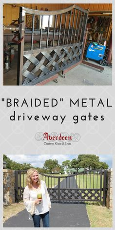 The metal was fabricated to to look like it is weaved. Then, it was painted with hints of copper to make the weaving really pop. This gate makes a statement at the Old Liberty Schoolhouse B&B in Azle, Texas. #customgates #drivewaygates #ranchgates #aberdeengate