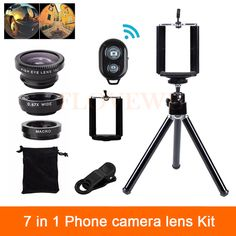 7in1 Camera Lenses Kit Wide Angle Macro Fish eye Lens For Mobile Phone Samsung Huawei Meizu Sony MOTO LG With Clips Mini Tripod //Price: $US $5.58 & FREE Shipping //     #ipad