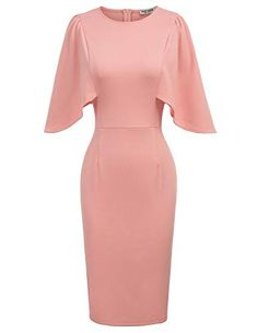 An elegant vintage style pencil dress, featuring romantic butterfly sleeves, a classic sheath silhouette and knee-length hemline. Modern Vintage Dress, Vintage Style Dresses, Casual Dresses, Vintage Fashion, Dresses For Work, Summer Fashion Outfits, Fashion Dresses, Casual Elegant Style, Grace Karin