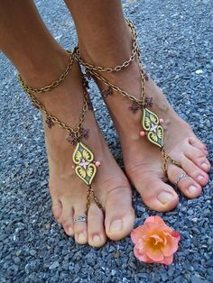 Damask BAREFOOT SANDALS CHAIN sandals Ethnic sandals chain anklets foot jewelry beach wedding barefoot wedding. $54.00, via Etsy.
