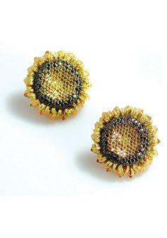 sunflower jewelry   | Alex Soldier Sunflower Diamond Earrings