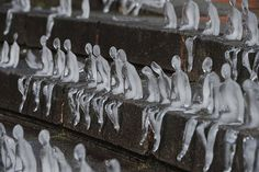 5,000 Melting Ice Sculptures Remember The Victims Of WWI by Brazilian sculptor Nele Azevedo on the step of Chamberlain Square in Birmingham, U.K.