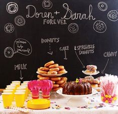 Donuts & Cake Table with chalkboard wall. Ok, probably not donuts. but this chalkboard thing is darling. Dessert Bars, Buffet Dessert, Dessert Table Backdrop, Dessert Tables, Cake Table, Food Tables, Lolly Buffet, Party Tables, Candy Buffet
