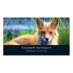 Red Fox Laying in the Grass Wildlife Image Business Card