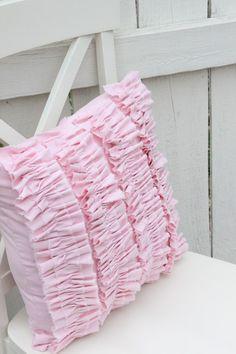 Pink Ruffle Pillow. $24.50, via Etsy.