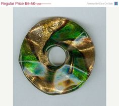 Wavy 47mm Emerald Green and Gold Foil Glass PI Donut by RockNBeads, $4.40