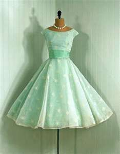 vintage dress in mint green