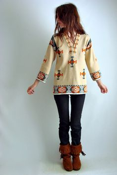 Southwestern motifs are big this season. I remember my mother wearing similar fashions in the early 90s. It's a playful, warm look.