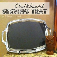 CUTE little DIY Chalkboard Serving Tray (I think she got the tray @ Dollar Tree.) use for potluck a and write ingredients. Cute Crafts, Crafts To Do, Diy Crafts, Crafty Projects, Diy Projects To Try, Silver Serving Trays, Sharpie Pens, Diy Chalkboard, Dollar Tree Crafts