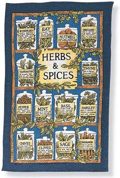 Herbs & Spices Linen Tea Towel
