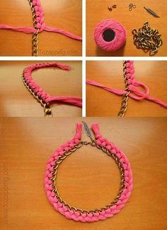 Collar de hilo trenzado y cadena Cómo hacer un collar de hilo trenzado y cadena, lo puedes hacer cómo quieras. Está de moda hacer collares con metal combina