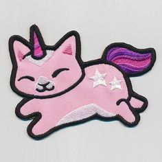 Items similar to Unicorn Cat Embroidered applique patch available in 2 sizes on Etsy Bag Patches, Sew On Patches, Iron On Patches, Machine Embroidery Designs, Embroidery Patterns, Hand Embroidery, Unicorn Cat, Cute Unicorn, Cat Applique