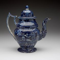 RISD Museum: Unknown artist, English. Coffeepot, early 19th century. transfer-printed earthenware. 27.9 cm (11 inches) (height). Gift of Alice Brownell, Mrs. Ernst R. Behrend and Alfred S. Brownell 29.250