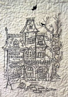 close up, blackwork embroidery, Halloween quilt by Phyllis Day.  Hocuspocusville pattern by Crabapple Hill Designs.  Photo by Quilt Inspiration, 2012 RCQG