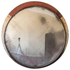"Huge Vintage Railway Convex Mirror, England circa 1930 (53"" diameter) | See more antique and modern Convex Mirrors at https://www.1stdibs.com/furniture/mirrors/convex-mirrors"
