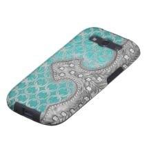 Country Western Silver on Turquoise Leather Look Samsung Galaxy S3 Covers