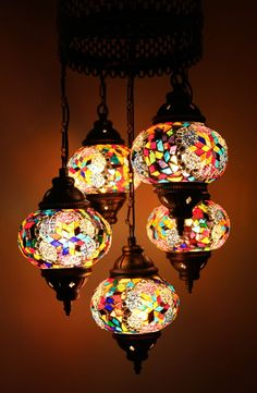 Multicolour Turkish Moroccan Style Mosaic Hanging Lamp Light Hand Craft 5 Globe