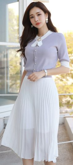 StyleOnme_Heavenly Long Pleated Skirt #ivory #pleated #skirt #elegant #feminine #koreanfashion #kstyle #kfashion #springtrend #dailylook