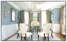 56 Elegant Dining Room Design with Wall Mirrors Ideas - Artistic Home Decor Informal Dining Rooms, Casual Dining Rooms, Dining Room Blue, Elegant Dining Room, Beautiful Dining Rooms, Dining Room Design, Interior Room Decoration, Home Decor, Room Decorations