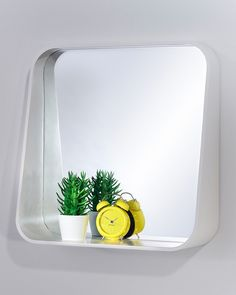 A medium-sized white square wall mirror with integral shelf. A stylish and practical contemporary mirror in a retro style, ideal for bedrooms and bathrooms. Contemporary, Decor, Bedroom Mirror, Wall Mirror With Shelf, Frame, Shelves, Bedroom Design, Rack, Mirror With Shelf